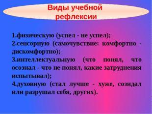 Виды учебной рефлексии 1.физическую (успел - не успел); 2.сенсорную (самочувс
