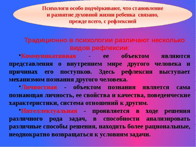 Традиционно в психологии различают несколько видов рефлексии: Коммуникативная...