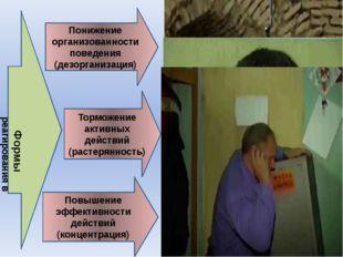 Понижение организованности поведения (дезорганизация) Торможение активных дей