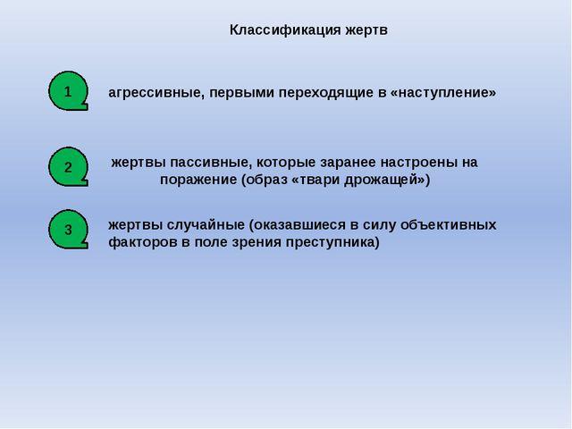 Классификация жертв агрессивные, первыми переходящие в «наступление» жертвы п...