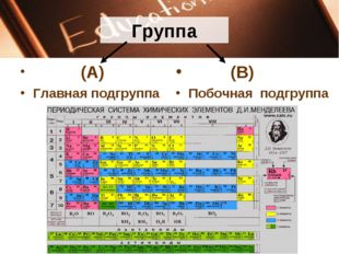 Группа (А) Главная подгруппа (В) Побочная подгруппа