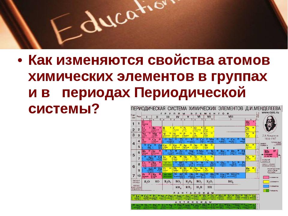 Как изменяются свойства атомов химических элементов в группах и в периодах Пе...