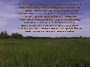история В1918 году наЗаброде был организован первый сельский Совет, аего
