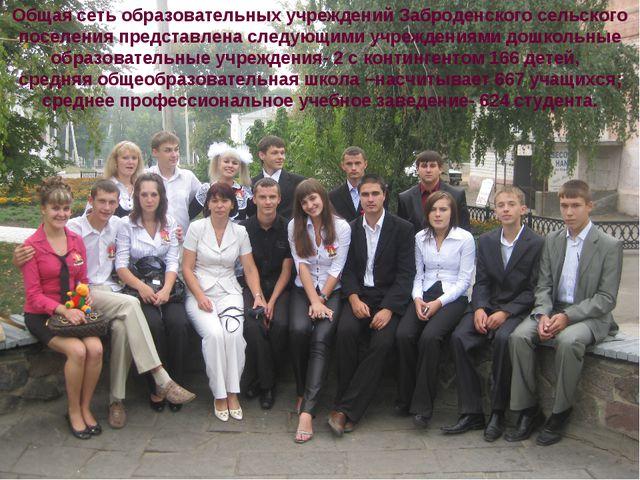 Общая сеть образовательных учреждений Заброденского сельского поселения предс...