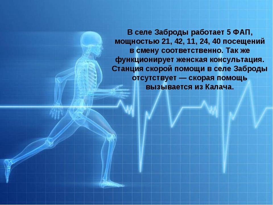 Здравоохранение Вселе Заброды работает 5ФАП, мощностью 21, 42, 11, 24, 40п...