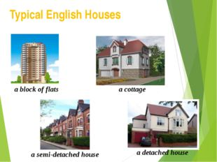 Typical English Houses a block of flats a cottage a semi-detached house a det