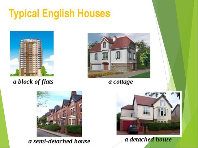 Typical English Houses a block of flats a cottage a semi-detached house a det...