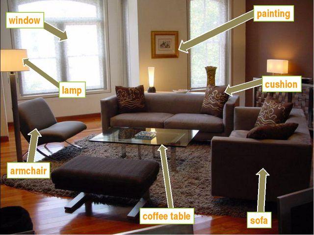 window painting lamp armchair coffee table sofa cushion