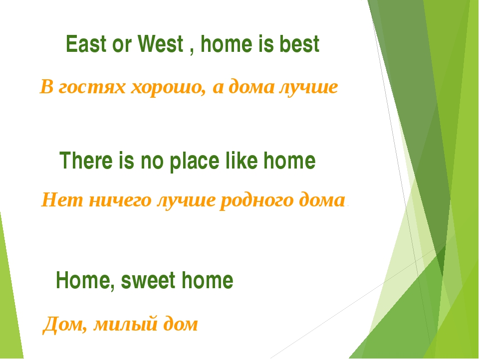East or West , home is best В гостях хорошо, а дома лучше There is no place l...