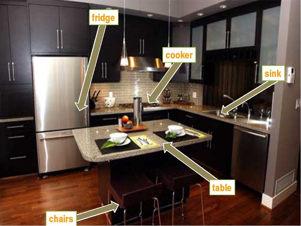 fridge cooker sink table chairs