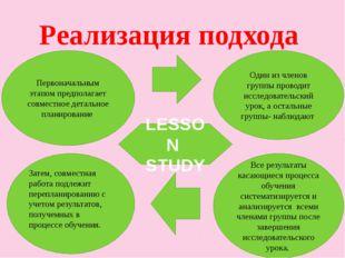 Реализация подхода Первоначальным этапом предполагает совместное детальное пл