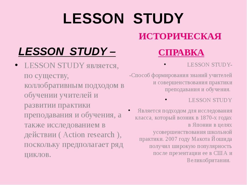 LESSON STUDY LESSON STUDY – LESSON STUDY является, по существу, коллобративны...