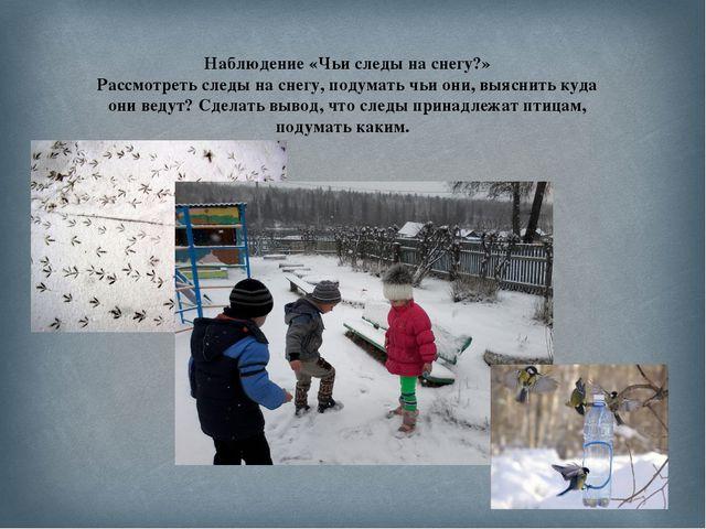 Наблюдение «Чьи следы на снегу?» Рассмотреть следы на снегу, подумать чьи они...