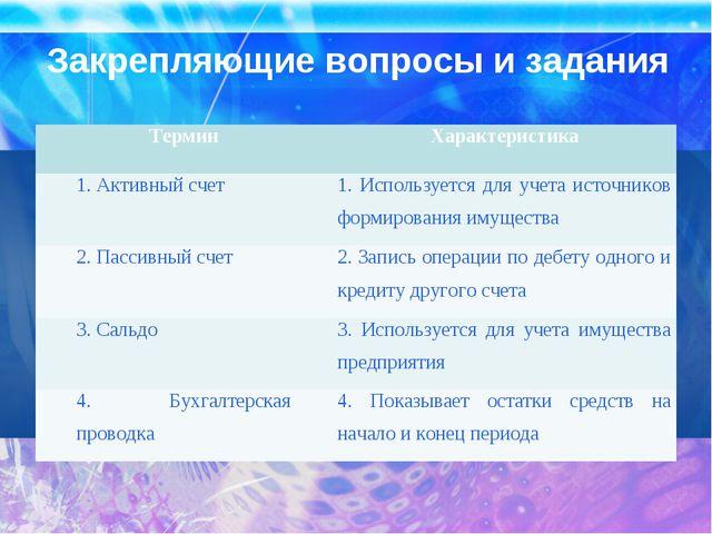 Закрепляющие вопросы и задания ТерминХарактеристика 1. Активный счет1. Испо...