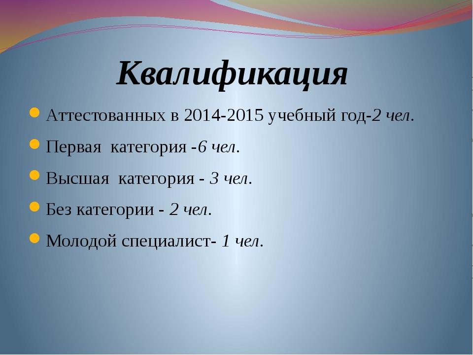 Квалификация Аттестованных в 2014-2015 учебный год-2 чел. Первая категория -6...