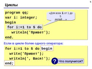 * Циклы program qq; var i: integer; begin for i:=1 to 5 do writeln('Привет');
