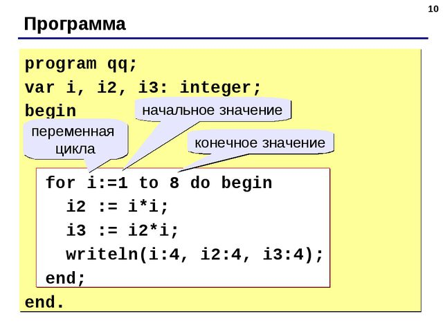 * Программа program qq; var i, i2, i3: integer; begin for i:=1 to 8 do begin...