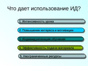 Что дает использование ИД? 1. Интенсивность урока 2. Повышение интереса и мот