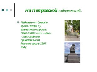 На Петровской набережной. Недалеко от домика-музея Петра I у гранитного спуск
