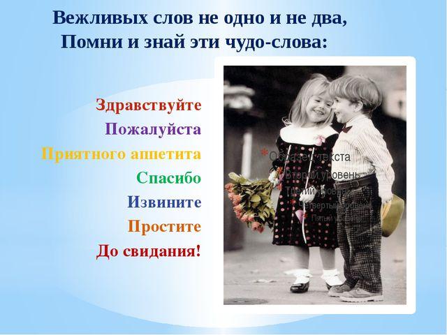 Вежливых слов не одно и не два, Помни и знай эти чудо-слова: Здравствуйте По...