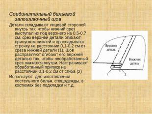 Соединительный бельевой запошивочный шов Детали складывают лицевой стороной в