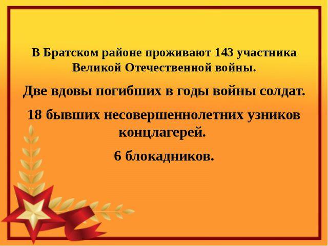 В Братском районе проживают 143 участника Великой Отечественной войны. Две в...