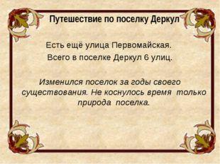 Путешествие по поселку Деркул Есть ещё улица Первомайская. Всего в поселке Д