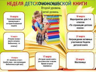 14 марта Ознокомительная презентация о истории Книжкиной недели 15 марта «Ри
