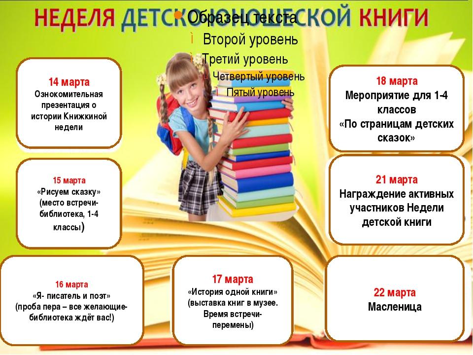 14 марта Ознокомительная презентация о истории Книжкиной недели 15 марта «Ри...
