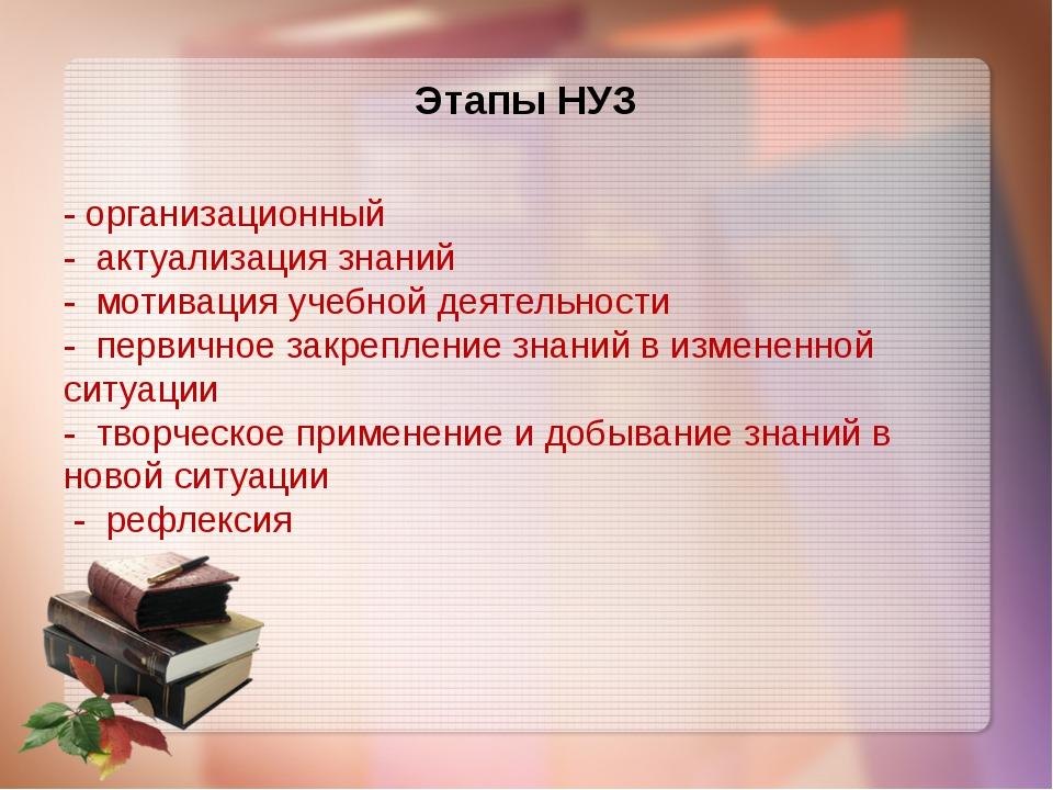 Этапы НУЗ - организационный - актуализация знаний - мотивация учебной деятель...