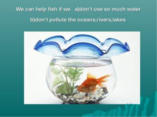 We can help fish if we a)don't use so much water b)don't pollute the oceans,r