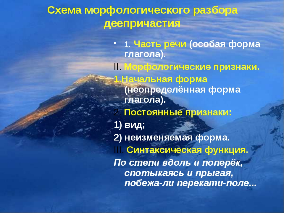 Схема морфологического разбора деепричастия 1. Часть речи (особая форма глаго...