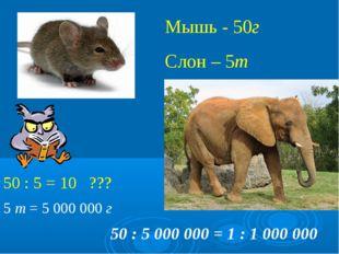 Мышь - 50г Слон – 5т 50 : 5 = 10 ??? 50 : 5 000 000 = 1 : 1 000 000 5 т = 50