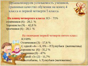 На конец четвертого класса: КЗ - 71% отличников (6) - 28,5 % Хорошисты (9) -