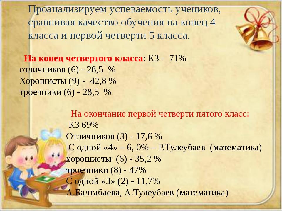 На конец четвертого класса: КЗ - 71% отличников (6) - 28,5 % Хорошисты (9) -...