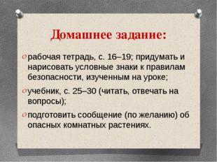 Домашнее задание: рабочая тетрадь, с. 16–19; придумать и нарисовать условные