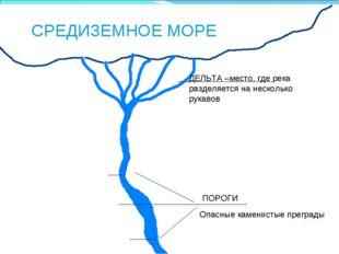 * СРЕДИЗЕМНОЕ МОРЕ ДЕЛЬТА –место, где река разделяется на несколько рукавов П