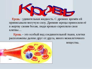 Кровь - удивительная жидкость. С древних времён ей приписывали могучую силу.