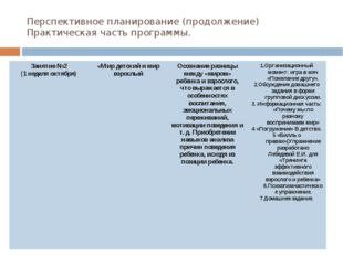Перспективное планирование (продолжение) Практическая часть программы. Заняти