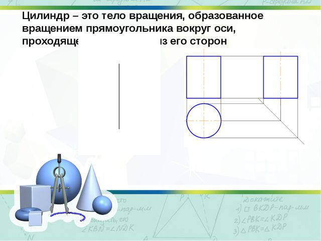 Цилиндр – это тело вращения, образованное вращением прямоугольника вокруг оси...