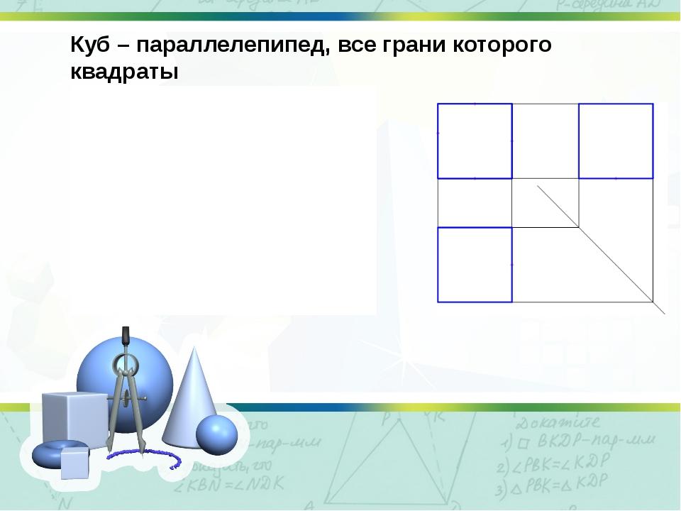 Куб – параллелепипед, все грани которого квадраты