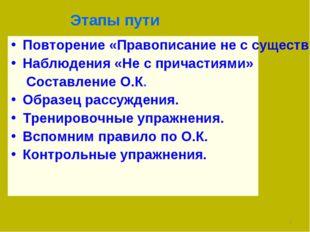 Этапы пути Повторение «Правописание не с существительными, прилагательными, н