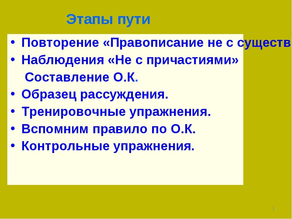 Этапы пути Повторение «Правописание не с существительными, прилагательными, н...