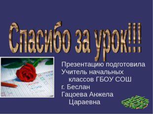 Презентацию подготовила Учитель начальных классов ГБОУ СОШ г. Беслан Гацоева