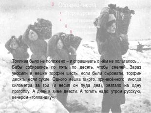 А.В.Иванова Топлива было не положено – и спрашивать о нём не полагалось… Баб