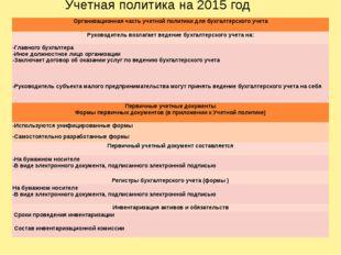 Учетная политика на 2015 год Организационнаячасть учетной политики для бухга