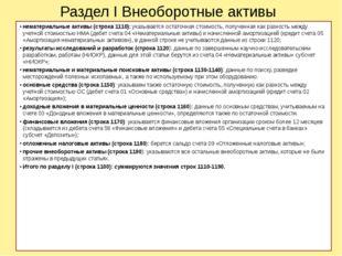 Раздел I Внеоборотные активы нематериальные активы (строка 1110): указывается