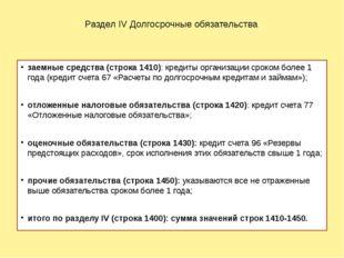 Раздел IV Долгосрочные обязательства заемные средства (строка 1410): кредиты