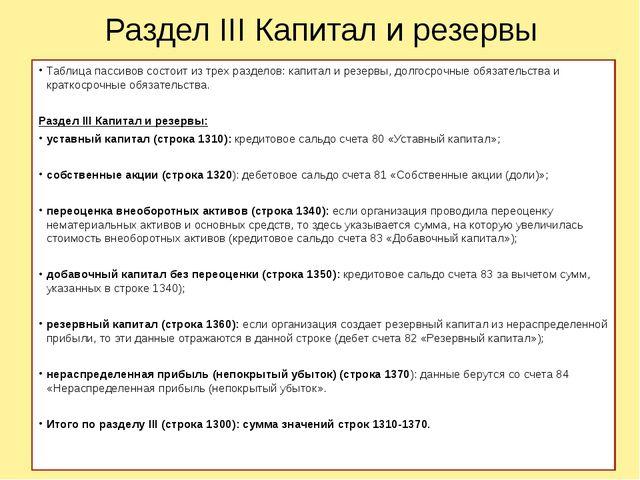 Раздел III Капитал и резервы Таблица пассивов состоит из трех разделов: капит...