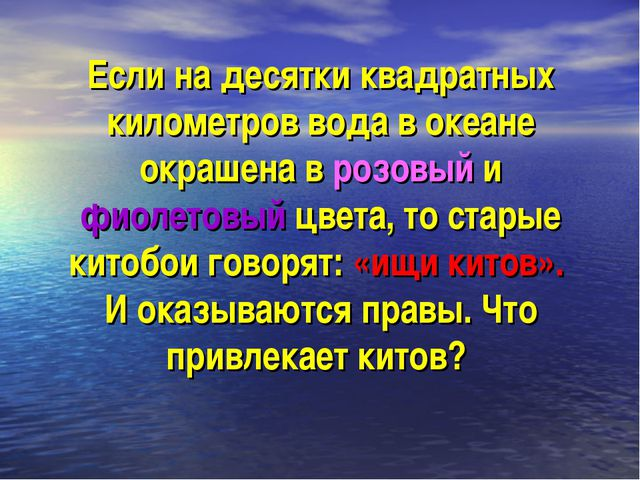 Если на десятки квадратных километров вода в океане окрашена в розовый и фиол...